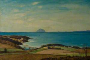 View of Culzean Castle with Ailsa Craig in the Distance