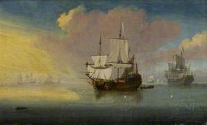A Man-of-War and Other Vessels in a Calm Sea