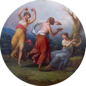 Three Dancing Figures with Cymbals and Drums
