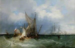 Dutch Vessels and a Man-of-War at Sea
