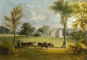 View of Drum Castle with Cattle