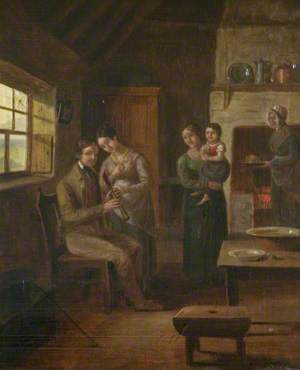 A Seated Man Holding a Chanter and Family in an Interior