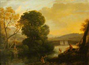 A Pastoral River Landscape with Fishermen