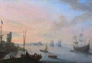 Coastal Scene with Sailing Ships and Rowing Boats