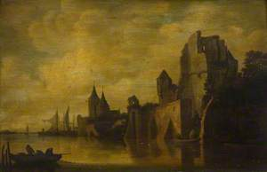 Coastal Scene with Sailing Boats, a Rowing Boat and Figures Hauling Nets