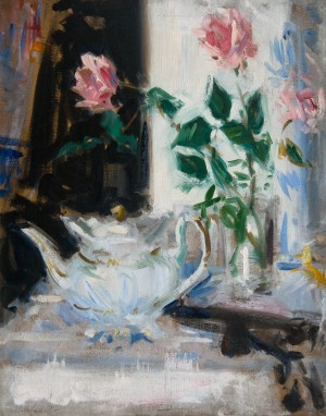 Pink Roses and Teapot