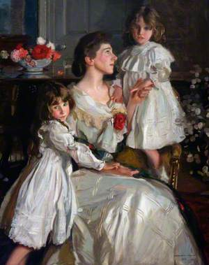Alice Marjorie Cunningham (d.1943), Wife of Augustus Kennedy-Erskine, 18th of Dun, with Their Daughters Marjorie and Millicent