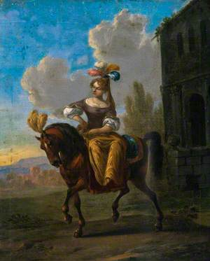 A Woman Sitting Side-Saddle on a Plumed Horse