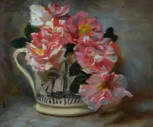Striped Roses in a Ship Mug