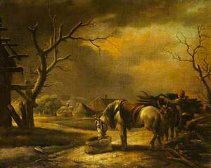 Landscape with a Woodman Loading a Horse