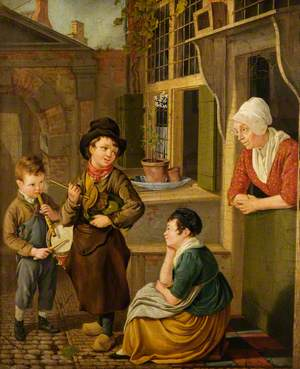 A Woman and Children in a Yard