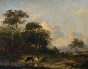 A Wooded Landscape with Cattle Watering