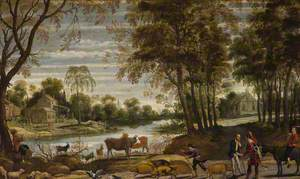 River Landscape with Peasants and Cattle