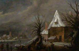 Winter Landscape with a River, Cottage and Village Beyond