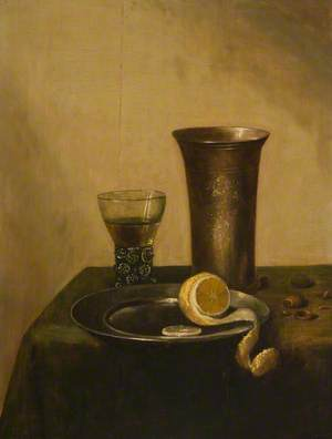 A Silver Beaker, a Roehmer and a Peeled Lemon