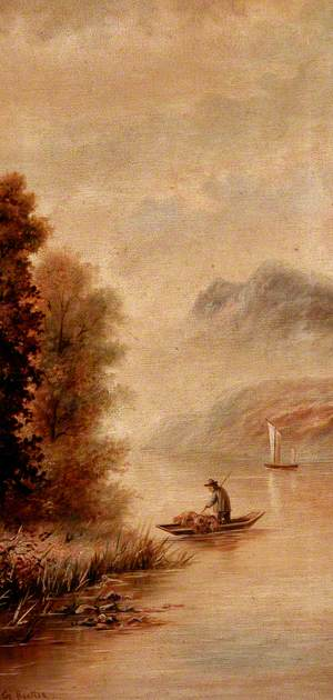 Mountain Lake with Boats