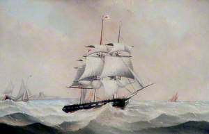 A Fully-Rigged Ship in a Choppy Sea off Hartlepool, Tees Valley
