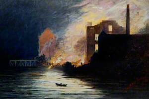 The Fire at The Mansion House, as it Appeared from the Swing Bridge at 2am on the 7 October 1895, Newcastle upon Tyne, Tyne and Wear