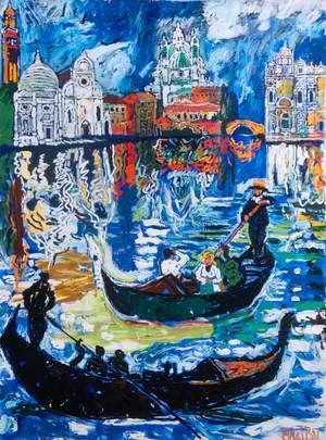 Venice Scene and Traghetto, Italy