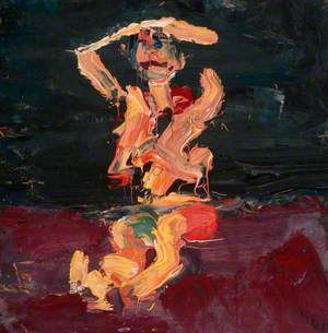 Seated Figure with Arms Raised