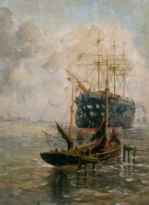 SAILING SHIP POSTER Trafalgar Battleship F J Tugday NEW