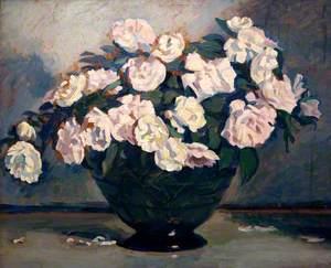 Bowl of White Roses