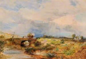 Rural Scene of Hay Cart Crossing Bridge