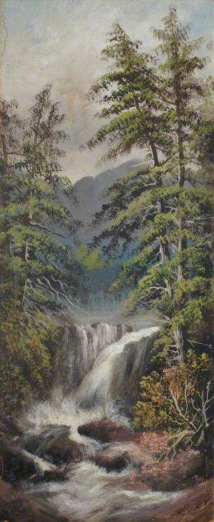 Waterfall with Pine Trees