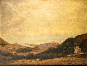 View of Aberystwyth with Penglais Mansion on the Right