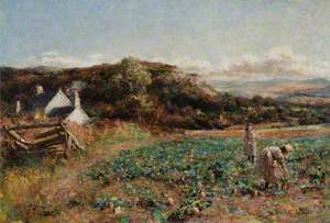 Girls in a Turnip Field above Conway Valley