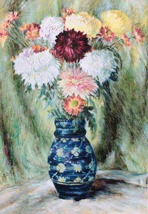 Blue China Vase with Peonies and Flowers