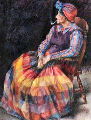 Seated Gypsy in Colourful Clothing with a Pipe