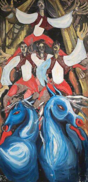 Abstract of Four Acrobats and Two Blue Horses