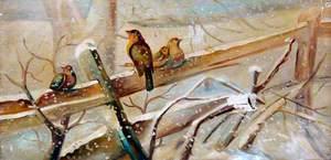 Four Birds in a Winter Scene