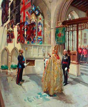 The Dedication to a Memorial of King Haakon VII of Norway, Colonel-in-Chief, in St Mary's Parish Church, Richmond, 1959