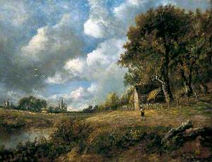 Landscape with Cottage and Figure by a Windmill
