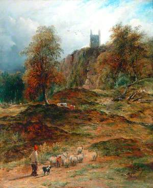 Landscape with Shepherd, Driving Home the Flock (Derbyshire)