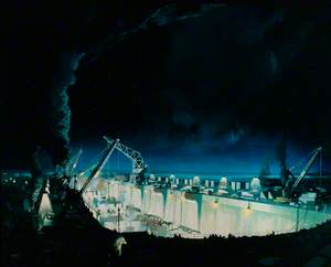 A Night Scene during the Construction of 'Mulberry' Harbour