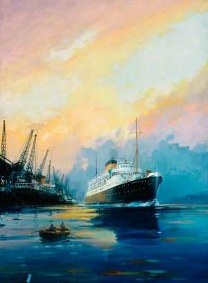 SS 'Amsterdam' Leaving Port