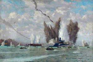 London, Midland and Scottish Railway Steamer SS 'Duke of York' and Other Ships under Fire