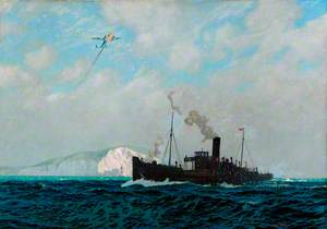 Southern Railway Cargo Steamer under Attack from German Aircraft during World War II