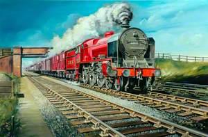 London, Midland and Scottish Railway 4–6–0 Locomotive No. 5517 Hauling Freight Train