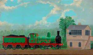 North Eastern Railway 2–2–2 Locomotive No. 280 Passing Starbeck North Signal Box