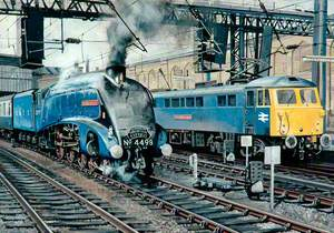 A4 Locomotive No. 4498 'Sir Nigel Gresley' and Class 87 Electric Locomotive No. 87034 'William Shakespeare' at Carlisle Station