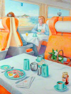 Interior of Restaurant Car with Diners Looking out over Beach