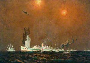 Sinking of Great Western Railway Steamer 'St David' (converted to hospital ship) off Anzio, 24 January 1944