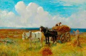 Hay Cart Pulled by Two Horses