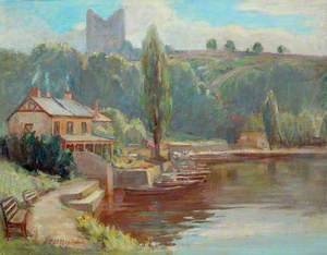 Riverside View with Castle