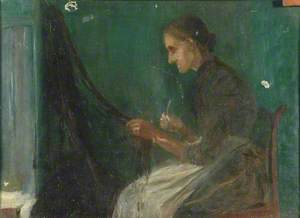 Woman Mending a Fishing Net