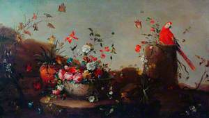 Still Life with Flowers and a Parrot